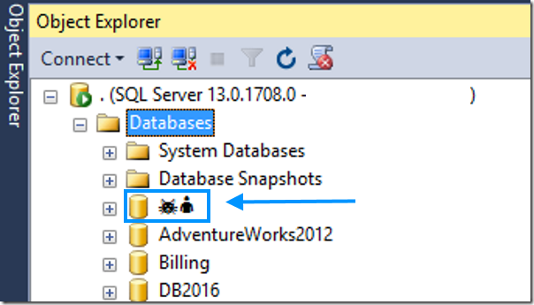 object explorer shows different