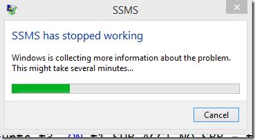 ssms crash